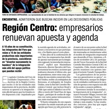 Región Centro: empresarios renuevan apuesta y agenda