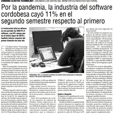 Por la pandemia, la industria del #Software cordobesa cayó 11% en el segundo semestre respecto al primero