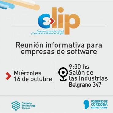16/10 [INVITACIÓN]: CLIP - Reunión Informativa para Empresas de Software