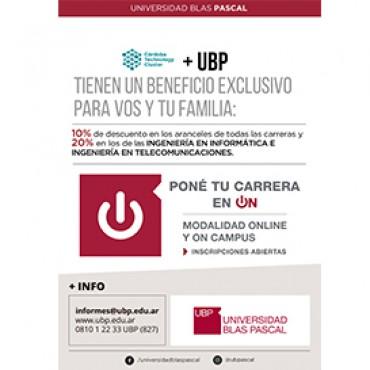 10% OFF todas las carreras y 20% Ing. Informática/ Ing. Telecomunicaciones Cluster + UBP