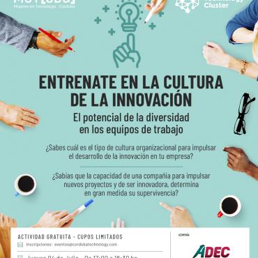 """04/07 [INVITACIÓN]: Taller """"Entrenate en la cultura de la innovación"""