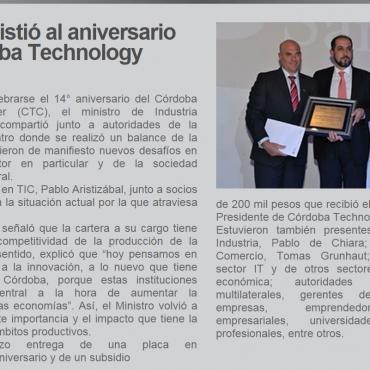 Acosta Asistió al aniversario del Córdoba Technology Cluster