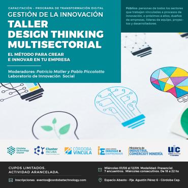"01/08 [CAPACITACIÓN]: ""Gestión de la Innovación: Taller Design Thinking - Multisectorial"""