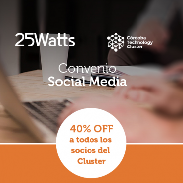 40% OFF Gestión de Redes Sociales - Convenio Cluster + 25Watts
