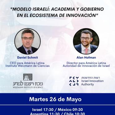 26/05 [INVITACIÓN] Modelo Israelí: Academia y Gobierno en el Ecosistema de Innovación