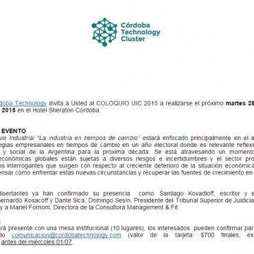 Invitación: 28 y 29 de julio - COLOQUIO UIC - El CTC participa con una Mesa anotate!