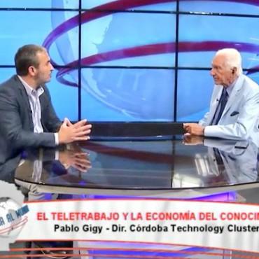 Pablo Gigy, pdte.  del Córdoba Technology Cluster por la pantalla de Canal C